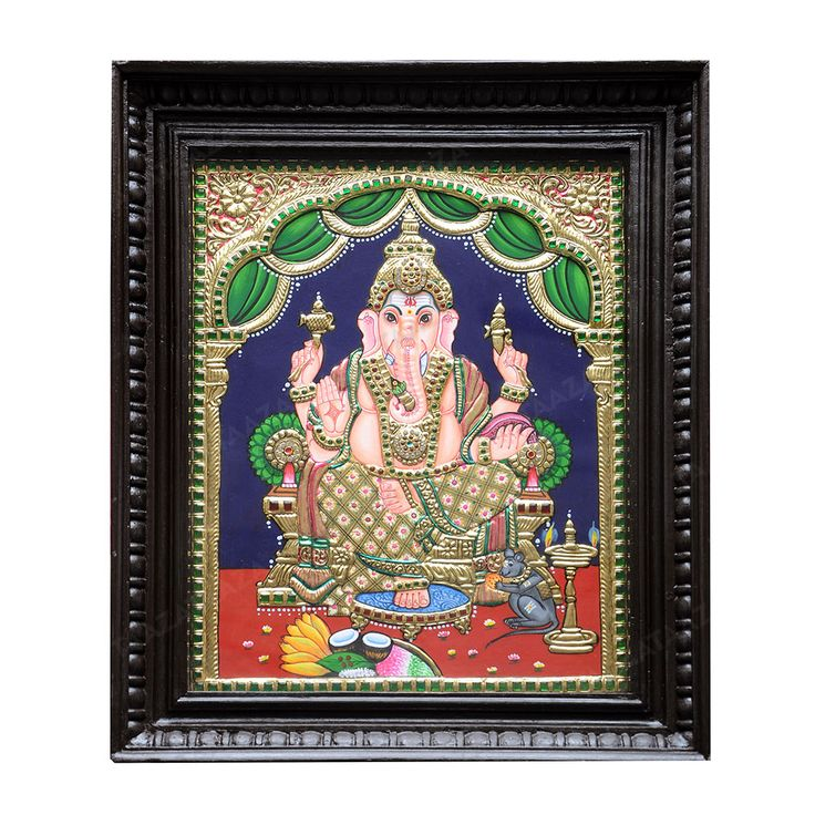 Sello Ganesh | Tanjore Painting |  Material: Jaipur stones Material Of Frame: Teak Wood with Glass Frame Dimensions( LxW): 16X19 Inches Package Contents: 1 Sello Ganesh Painting