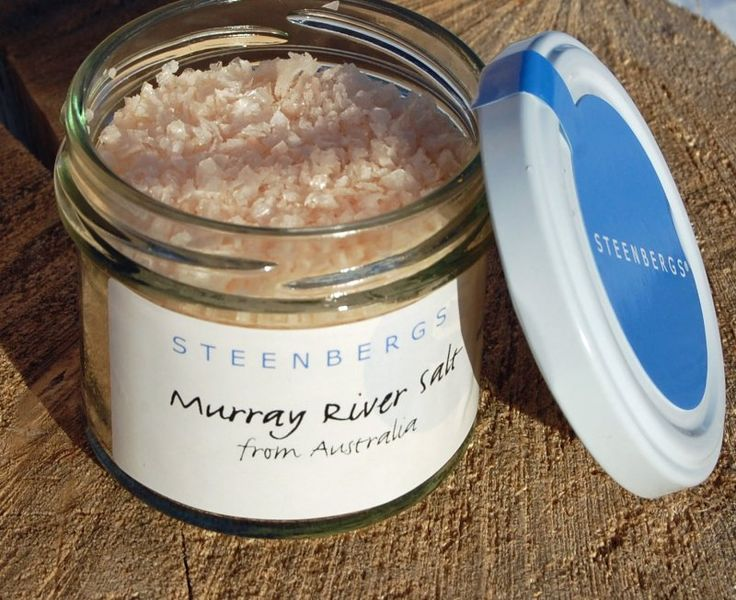 Steenbergs Murray River Salt from Australia. A wonderful pinky medium crystal salt. Described as Australia's original gourmet pink salt - it is harvested from pure underground saline waters.
