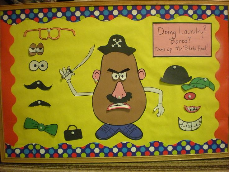 Mr. Potato Head interactive bulletin board. This would be a fun way to practice body parts!