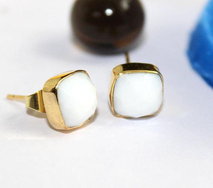 Zj-3535 Great Sale White Agate 24k Gold Plated Best Stud Earring Jewelry #Handmade #DropDangle