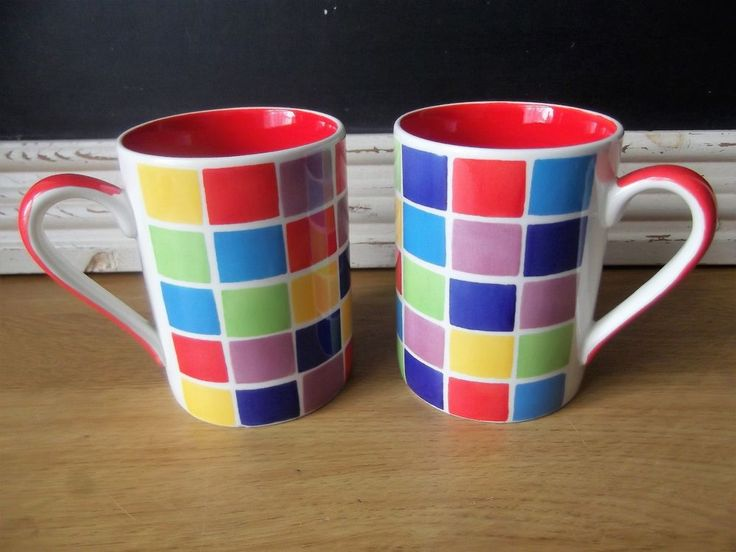 Whittard of Chelsea Mosaic Multicoloured Square Coffee/Tea Mugs x 2  | eBay