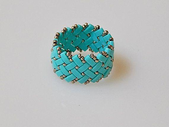 Basket Weave Baby Blue Ring by Ravit on Etsy