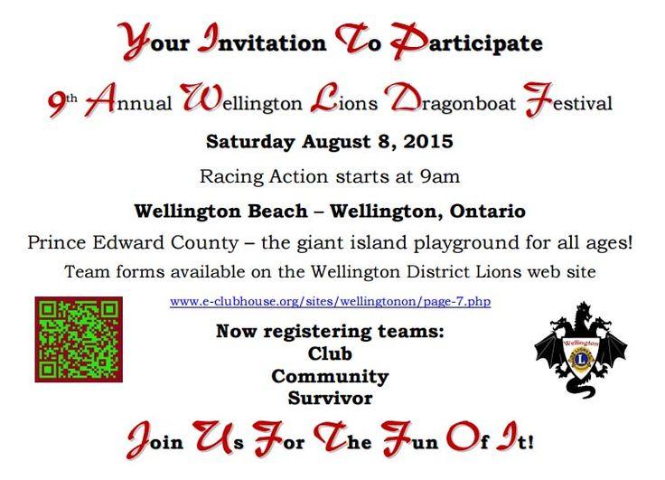 Wellington Lions Dragon Boat Festival - August 08, 2015