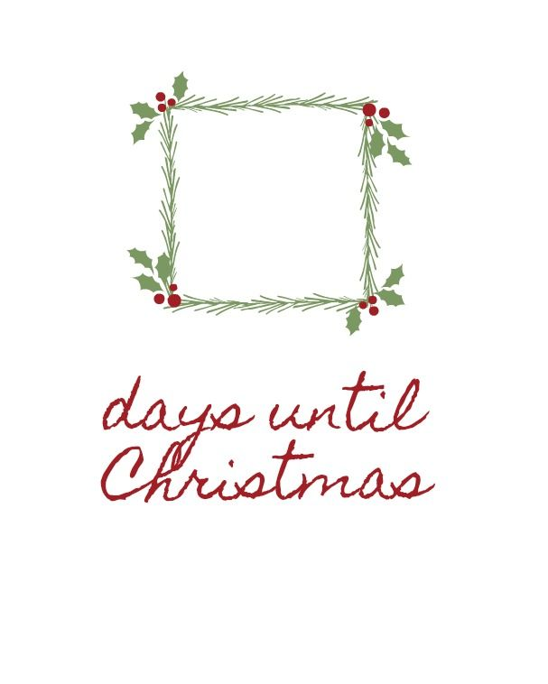 Days Until Christmas Printable Printables Pinterest Christmas