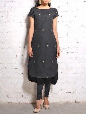 Black Chanderi Asymmetric Hem Tunic