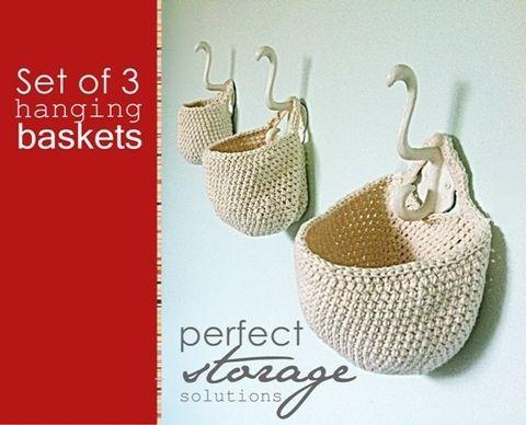 Dana Eckert Patterns - 02 - Crochet Set of 3 Hanging Baskets
