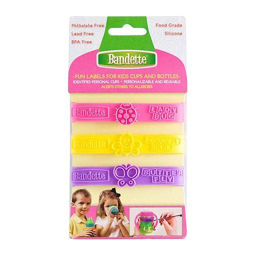 Bandette Cup and Bottle labels meisjes  € 8.95  Bandette bakjes en flessen etiketten zijn handige en herbruikbare siliconen labels, die voor meerdere dingen te gebruiken zijn. http://www.love2bemama.com/product/bandette-labels/