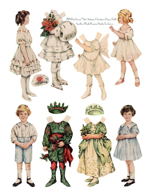 Christmas Paper Doll Set for ornaments and more - Plush Possum blog