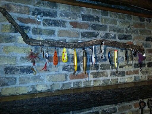 Dads old fishing lures make a great mantel piece home for Fishing lure display
