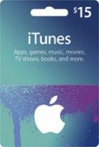 APPLE $15 iTunes Gift Card: Redeemable at the iTunes store, iBookstore or the App Store; redeemable for music, movies, eBooks, apps and more; $15 value