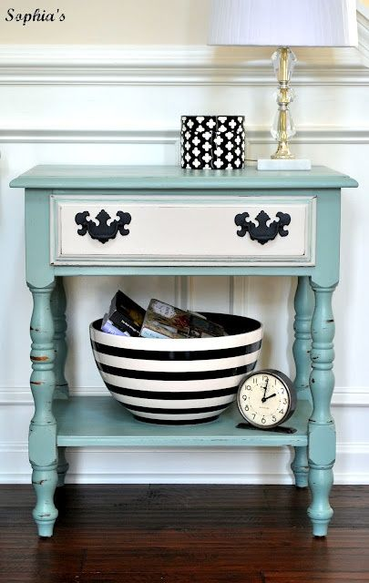 outdated nightstand to cool table...love the color combo. Love this look would look AWESOME done in citrus green for my bedroom.