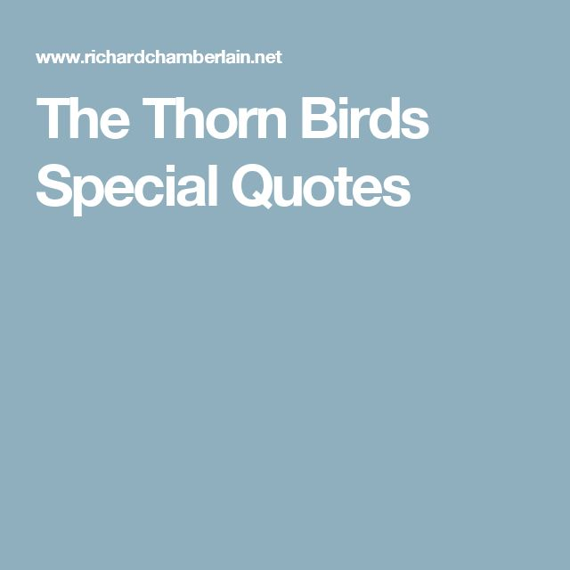 The Thorn Birds Special Quotes
