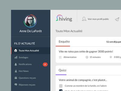 hiving UI design layout found on Dribbble.