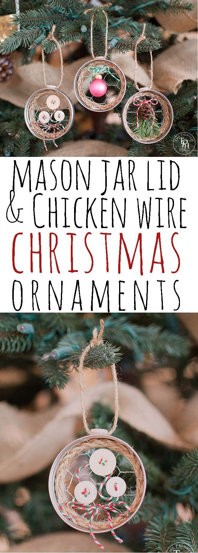 So adorable and super easy to make! Mason Jar Lid & Chicken Wire Christmas Ornaments