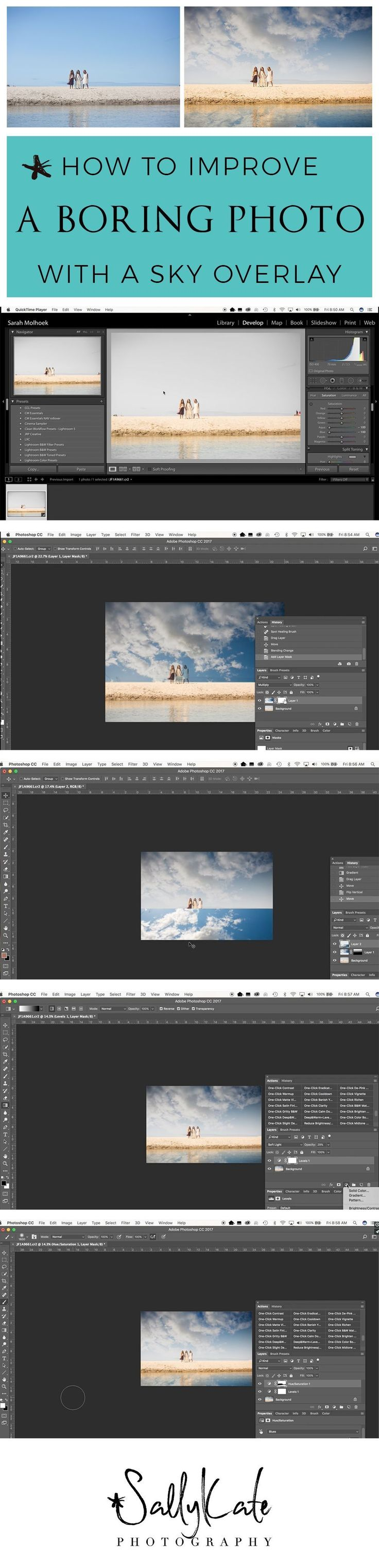 How to Improve a Boring Photo with a Sky Overlay in Photoshop | Photoshop Tutorials | Tips and Tricks for Photoshop | Photoshop for Beginners | Portrait Editing Tips for Photoshop | www.sallykatephotography.com