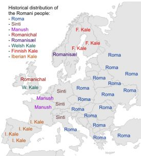 Gypsy:  Historical Distribution of the Romani (#Gypsy) People.  Not all Gypsy tribes are listed.