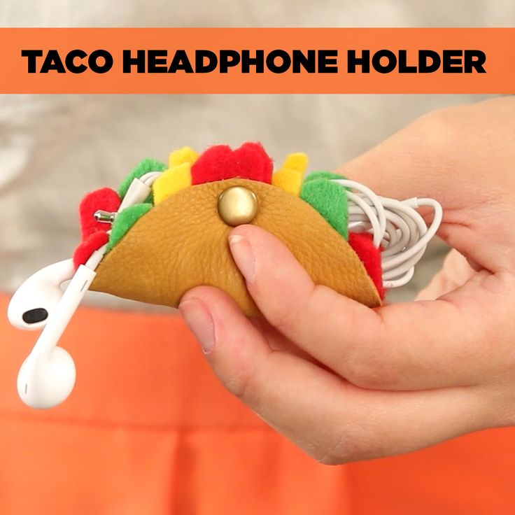 Keep your favorite pair of earbuds tangle-free with this DIY taco headphone holder.