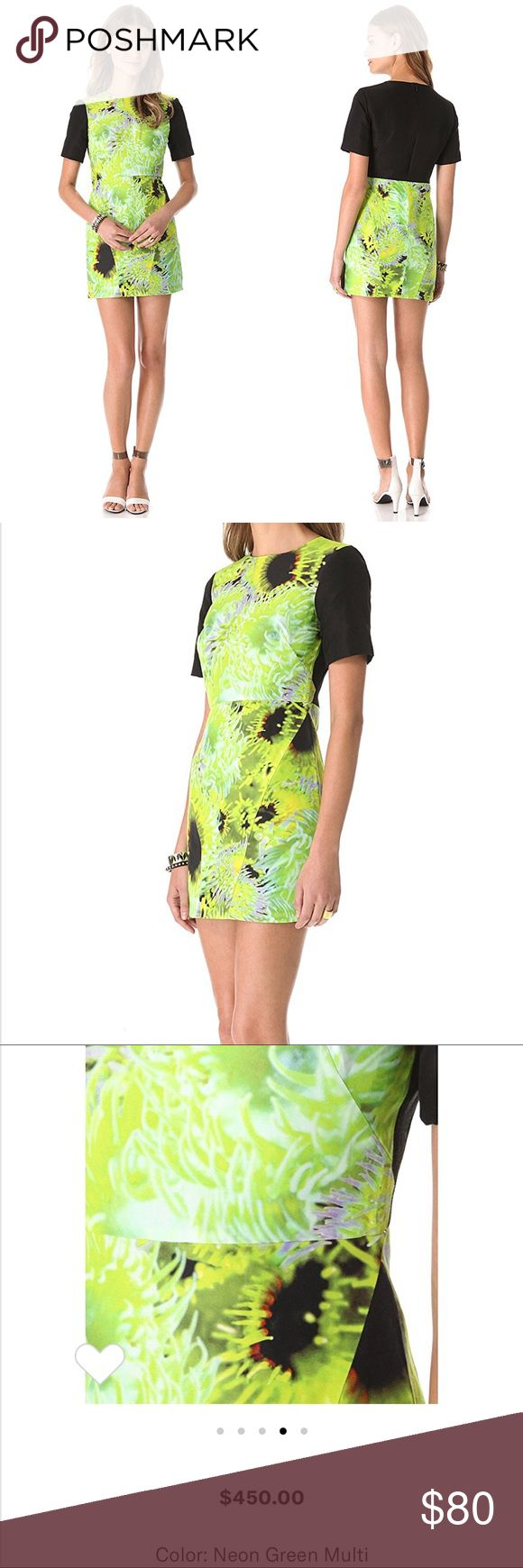 Tibi 'Athena' Dress Tibi 'Athena' Dress. Size 0/XS. Neon lime and black graphic floral print. Fitted and tailored silhouette. Zips up the back. Excellent pre-owned condition. Unfortunately it just doesn't fit. Retail $450. Tibi Dresses Mini