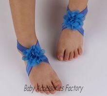 ( 2 par/lote ) garota adorável bebê pés descalços flores sandálias Artificial infantil pé Mini Chiffon flores acessórios sapatas da flor(China (Mainland))