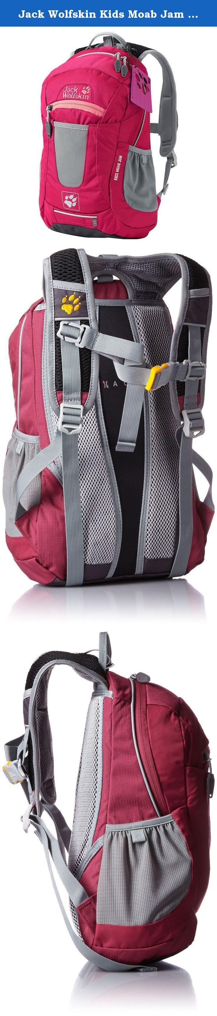 Jack Wolfskin Kids Moab Jam Basic Backpack, Azalea Red. This sporty rucksack has the typical features of a JACK WOLFSKIN bike rucksack: it's equipped to hold a hydration system, features an anchor loop for an LED light and has reflectors on the shoulder straps and pack sack. The rucksack has a stretchy mesh pouch on the front, an external pocket, a main compartment and two stretchy side pockets.