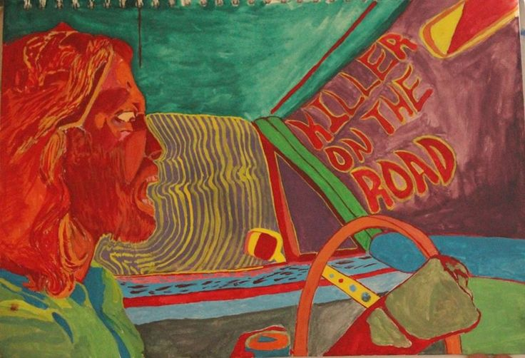 Psychadelic poster design-Jim Morrison driving-Killer on the Road