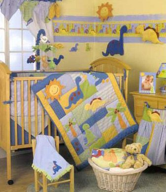 Dinosaur Nursery Decor Example Of How It Could Work In A Yellow Room Even Without This Much Yellow In The Bedding