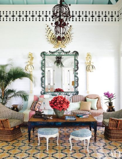Luxe hotel tour: Playa Grande Beach Club, Dominican Republic: Ceilings and floors are painted in a palette of macaron pastels, and rooms are filled with heirlooms, pieces from the decorator's line for Henredon, flea-market finds, and deliciously odd metal furnishings and light fixtures created by Pedro Noesí of Neno Industrial, a Dominican design studio.