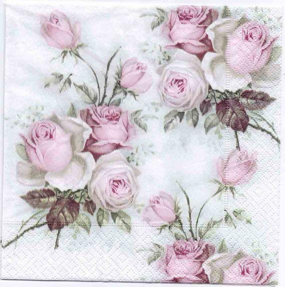 Decoupage servilletas Pastel rosa ramo Rosa Napkins