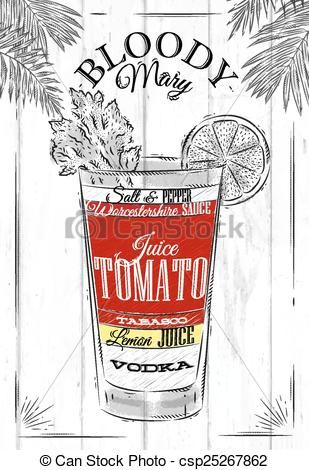 Blody Mary Clipart | Clip Art Vector of Bloody mary cocktail in vintage style stylized ...