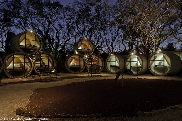 The Tubo Hotel is made from upcycled cement tubes featured in the Remix issue 011 #ecoluxury, #ecoresorts, #unusualhotels, #consciouscommunity