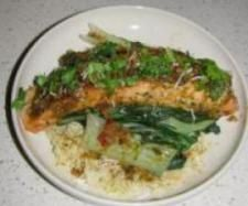 Asion salmon with buk choy and coconut rice