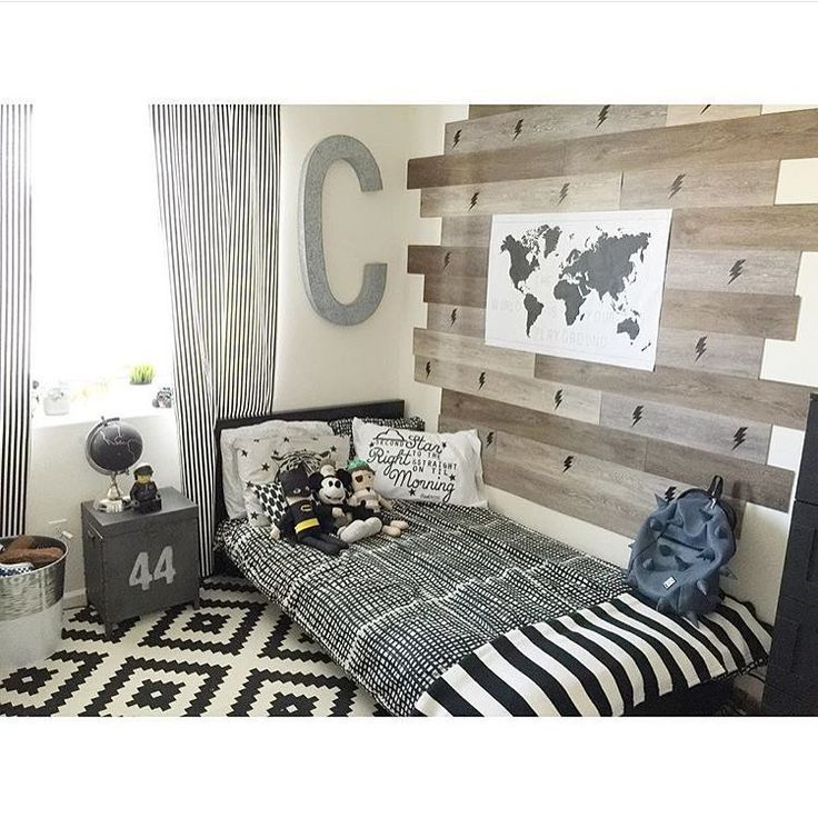 "Beautiful and stunning boy's room in @ashlymarie26 house with our ""Lightning pattern decal. Love the wood panels."