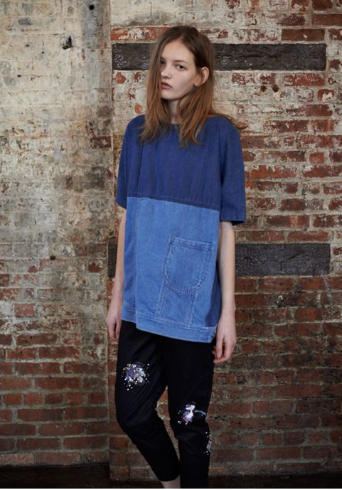 rachel comey tunic // Simplicity 1366, lengthened and colour blocked denim