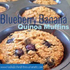 Blueberry Banana Quinoa Muffins - No oil, no flour, no sugar.  Clean eating breakfast to go! www.foodaddictandfitnessfanatic.com