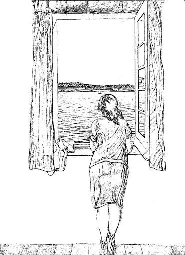 """Colorear """"Muchacha en la ventana"""". Salvador Dalí"""