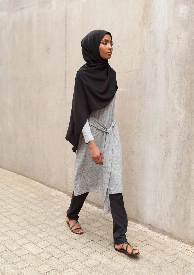 INAYAH | Casually comfortable in some of our Summer favourites: Grey Cotton Blend Blended #Midi + Black Straight Leg #Trousers + Black Rayon #Hijab - www.inayah.co