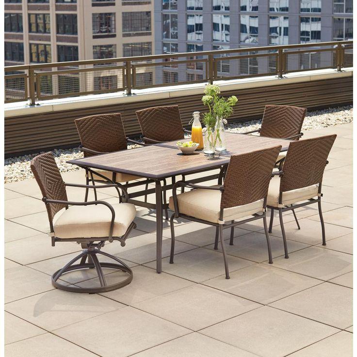 Hampton Bay Pin Oak 7-Piece Wicker Outdoor Dining Set with Oatmeal Cushion-DY11309-7PC - The Home Depot