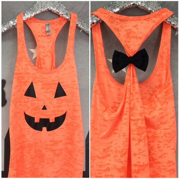 Halloween Tank Bow Tank Top Halloween Halloween Shirt Jack O Lantern... ($20) ❤ liked on Polyvore featuring tops, tanks, black, women's clothing, black racerback tank, neon tank, bow shirt, screen print shirts and racerback shirts