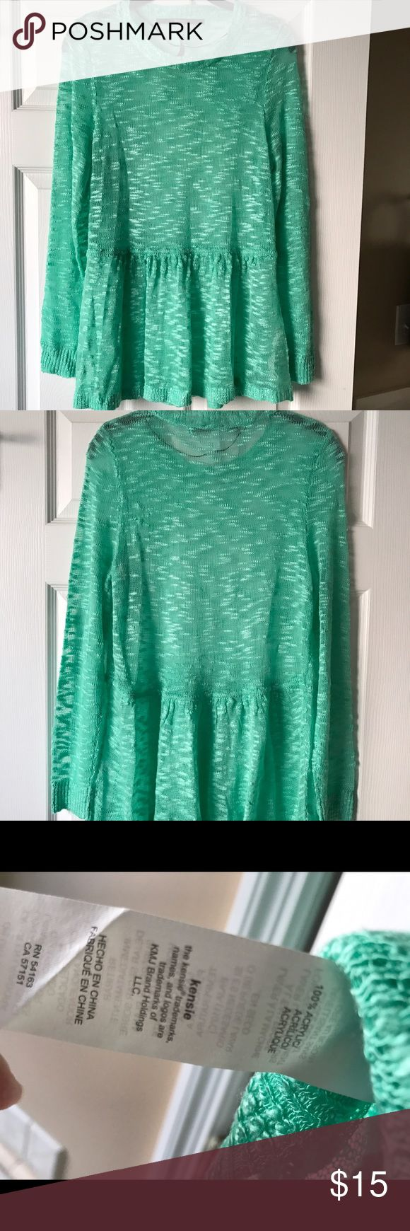 NWOT Kensie mint green top Super soft top, color is mint green. Somewhat sheer (you would want to wear a tank underneath). Kensie Tops