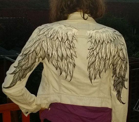 Chaqueta de dril de algodón de la mujer de alas de Ángel. Pintado a mano