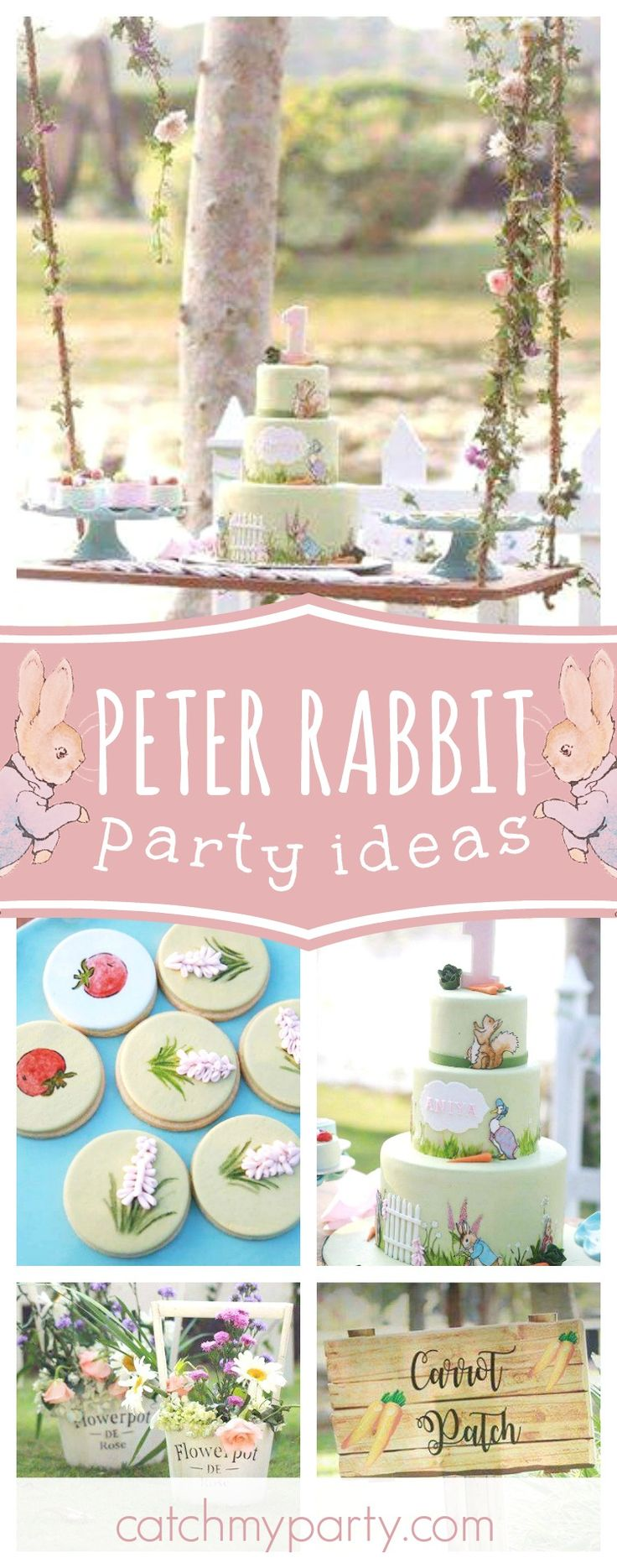 Don't miss this gorgeous Peter Rabbit 1st birthday party. The birthday cake is amazing!! See more party ideas and share yours at CatchMyParty.com