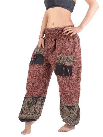 Pantalon bouffant laine imprimé cachemire géants et petites fleurs