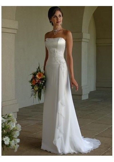 Simple Wedding dress online shop Chiffon strapless appliqued slim column shape summer wedding dress with lace