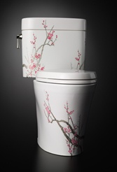 Plum Tree toilet.  Very expensive... maybe could be done with a stencil?  For a Japanese theme room.