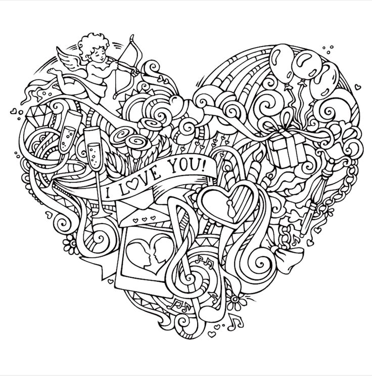 122 best Coloring - Heart Shapes images on Pinterest | Coloring ...