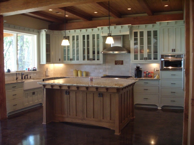 Mission Style Kitchen See the whole lake house tour at