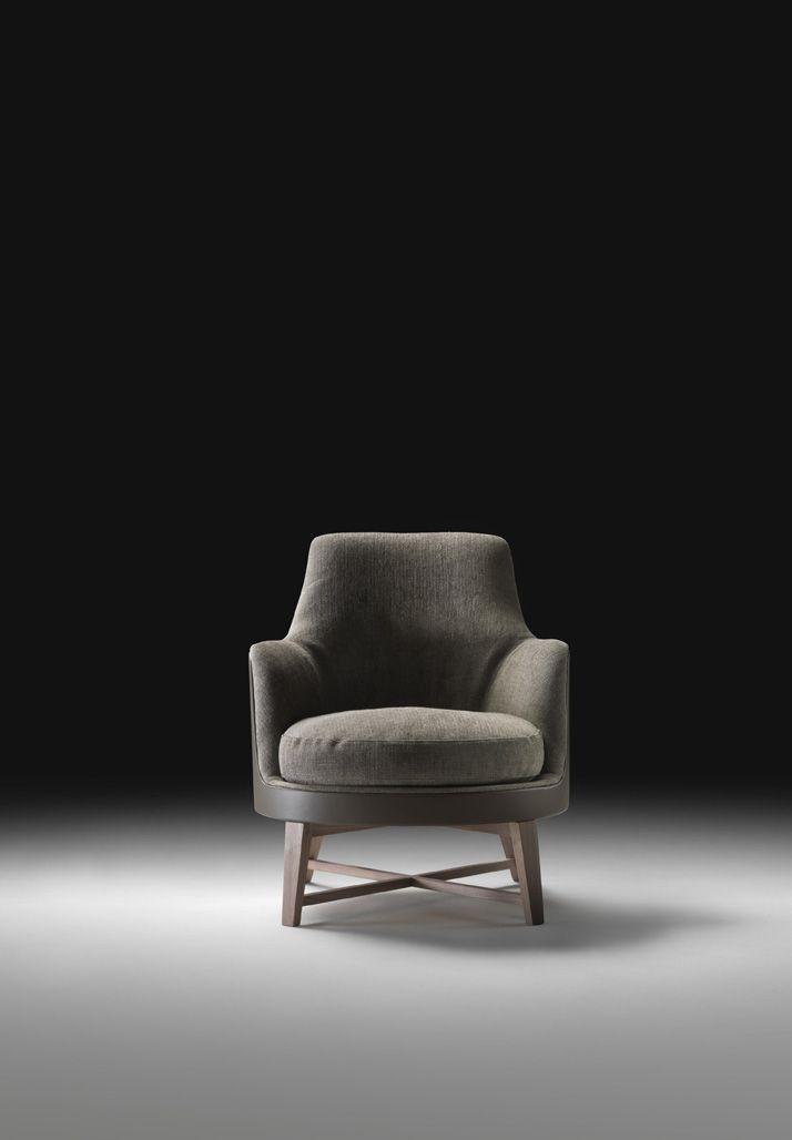 FLEXFORM GUSCIO SOFT Armchair with wooden base. Designed by ANTONIO CITTERIO.