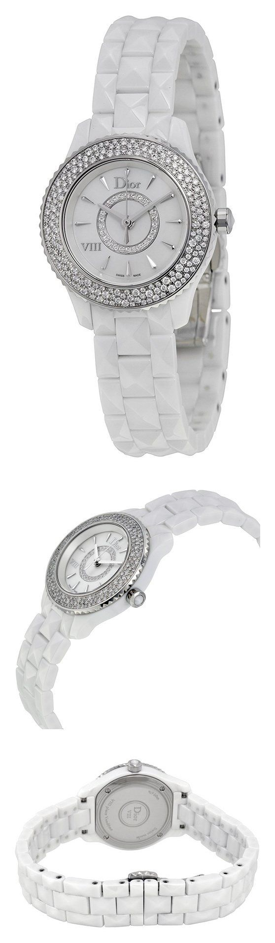 Christian Dior VIII Mother of Pearl White Hi Tech Ceramic Diamond Ladies Watch CD1221E4C001 #watch #christiandior #wrist_watches #watches #women #departments #shops