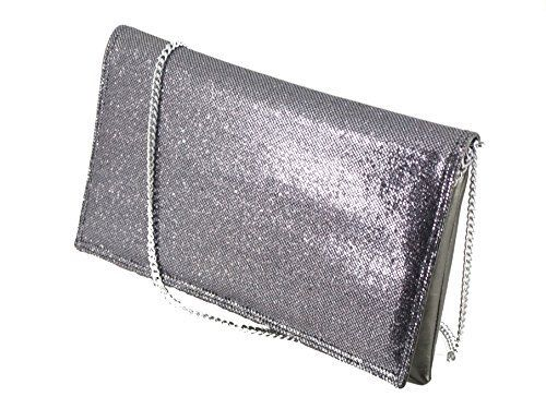 New Trending Clutch Bags: LONI Womens Glitter Sequin Faux Leather Evening Clutch Purse Bag in Pewter Graphite. LONI Womens Glitter Sequin Faux Leather Evening Clutch Purse Bag in Pewter Graphite  Special Offer: $29.99  200 Reviews Glitter clutch/shoulder bag – great party/evening bag! Front Flap is glitter, body is matching faux leather Size 24cm x 13cm x 2cm (small-medium) Detachable...
