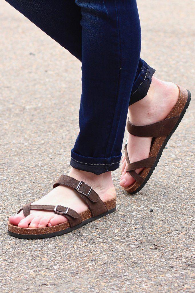 758cffa0279a Toe Strap Bork Slide On Sandals Leather Look {Brown} in 2019 | Footwear |  Sandals, Birkenstock sandals, Shoes